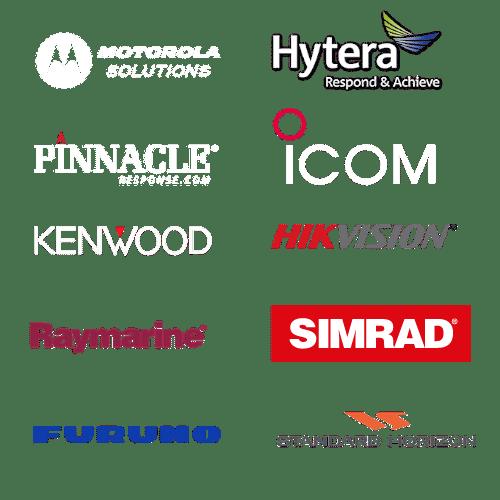 Two way radio and marine electronics logo cluster, motorola walkie talkie, hytera and icom vhf