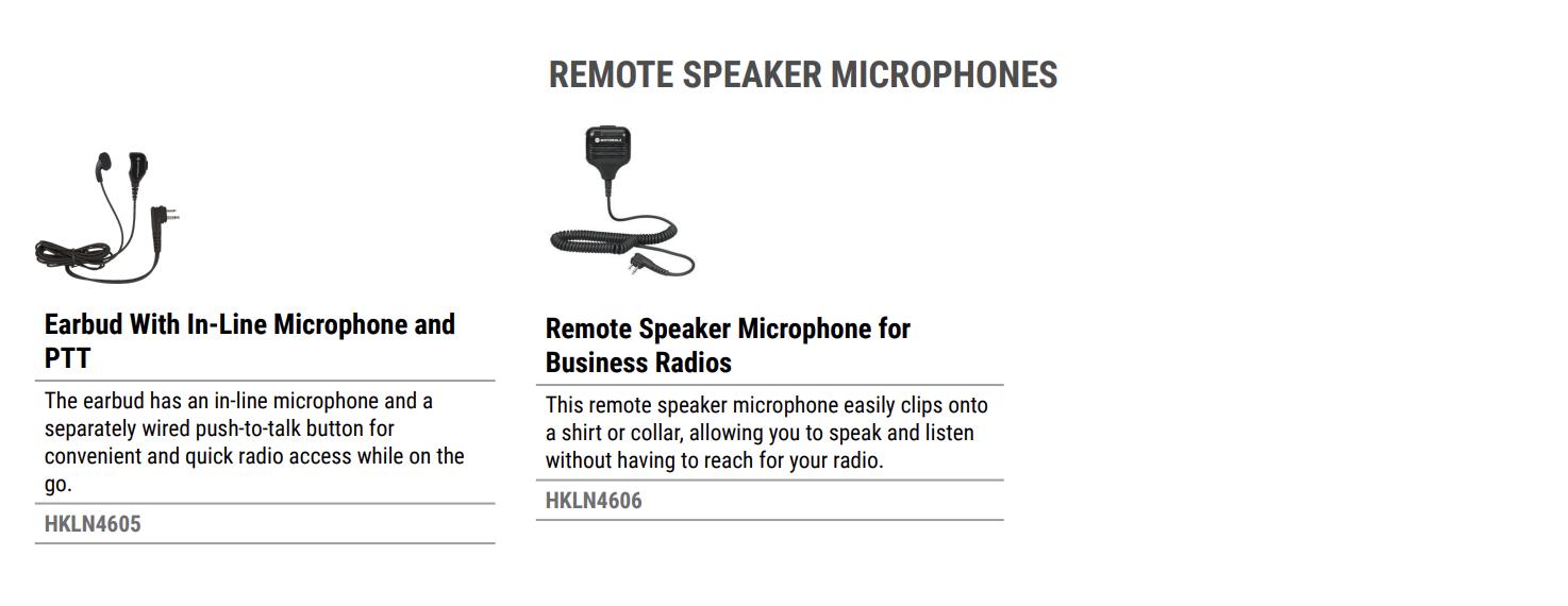 ATTACHMENT DETAILS Motorola CLR Remote Speaker Microphones